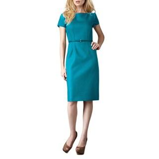 Elie Tahari Lolly Teal Cap Sleeve Boatneck Knee-length Dress