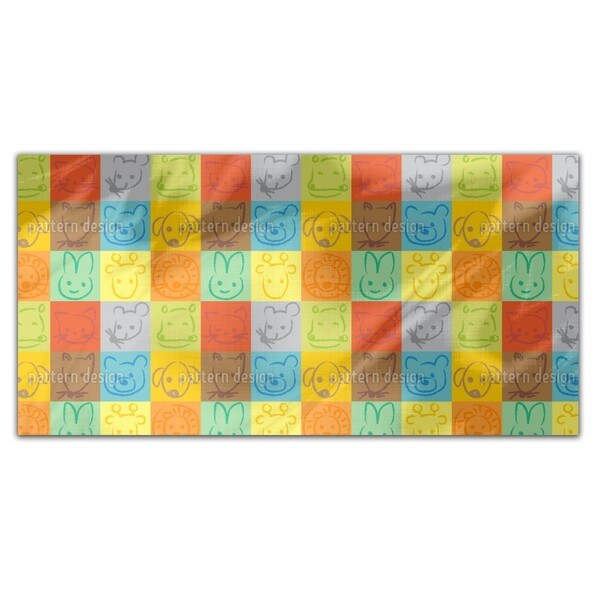 Animals In Squares Rectangle Tablecloth