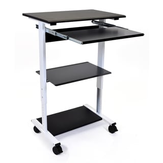 Luxor Adjustable Height Mobile Compact Standing Workstation With Shelf