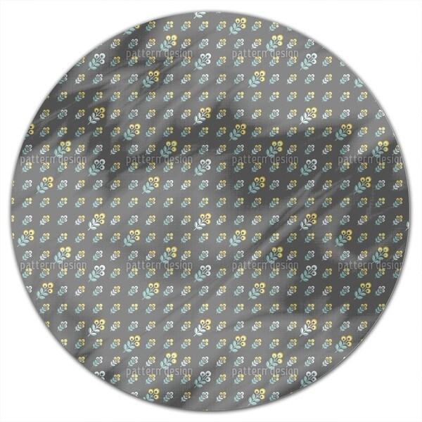 Scandinavian 70s Flowers Round Tablecloth