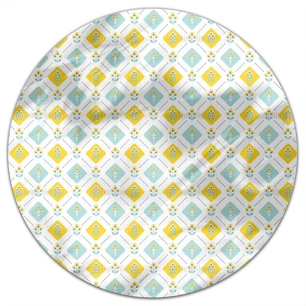 Retro Folk Flowers Round Tablecloth