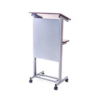 Luxor LX-ADJ-DW Adjustable Height Mobile Lectern Podium