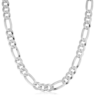 Fremada Italian Rhodium Plated Sterling Silver Bold Solid Men's 8.5-mm Figaro Link Necklace
