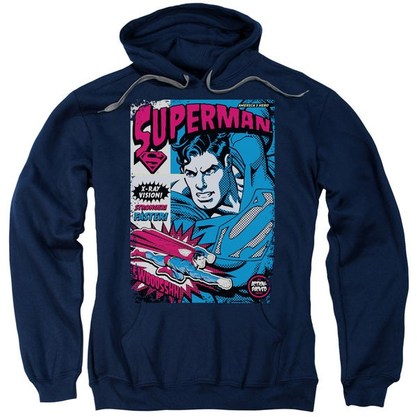 Superman/Action Packed Adult Pull-Over Hoodie in Navy