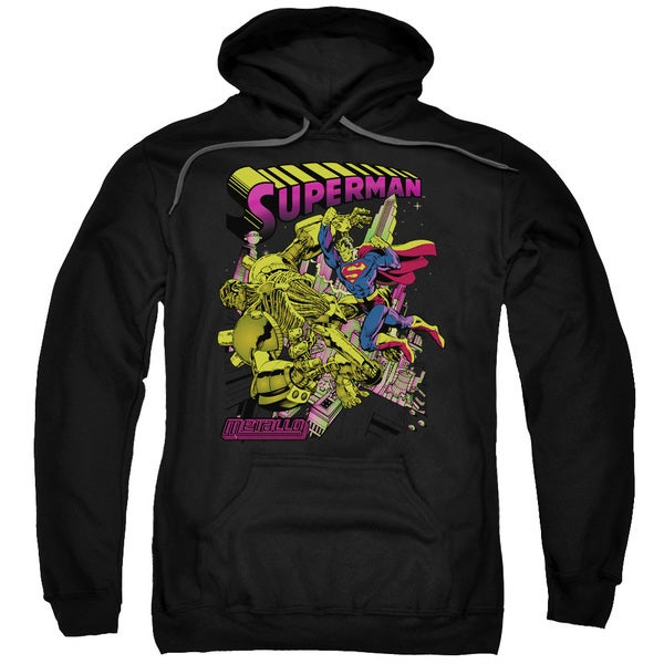 Superman/Versus Metallo Blacklight Adult Pull-Over Hoodie in Black