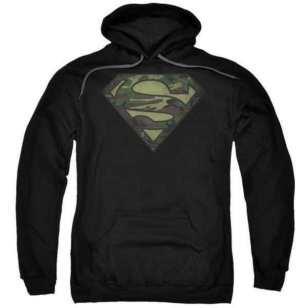 Superman/Camo Logo Distressed Adult Pull-Over Hoodie in Black