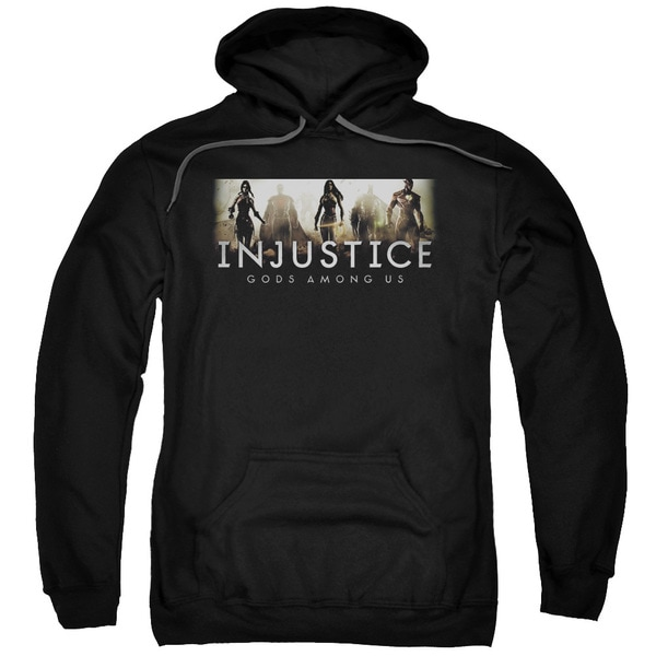 Injustice Gods Among Us/Logo Adult Pull-Over Hoodie in Black