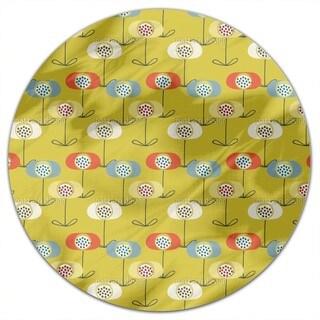 Retro Poppy Round Tablecloth