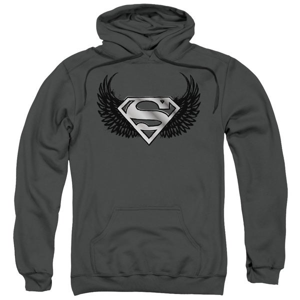 Superman/Dirty Wings Adult Pull-Over Hoodie in Charcoal