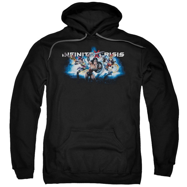 Infinite Crisis/Ic Blue Adult Pull-Over Hoodie in Black