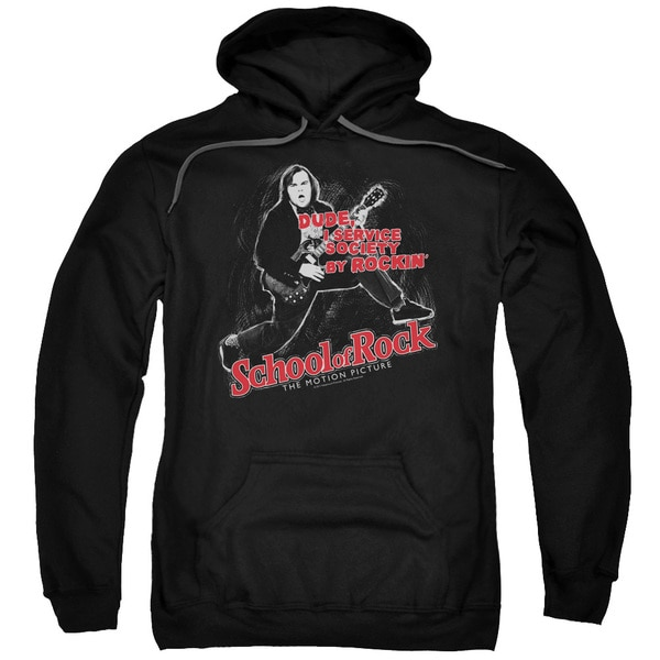 School Of Rock/Rockin Adult Pull-Over Hoodie in Black