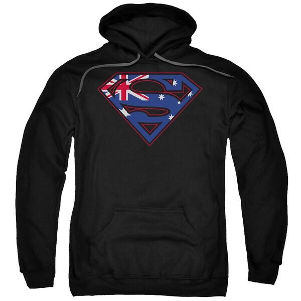 Superman/Australian Shield Adult Pull-Over Hoodie in Black