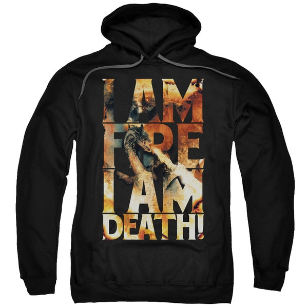 Hobbit/I Am Fire Adult Pull-Over Hoodie in Black