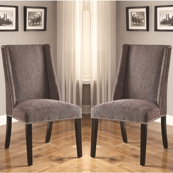 Decatur Wing Back Design Grey Upholstered Chairs With