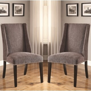 Decatur Wing Back Design Grey Upholstered Chairs with Nailhead Trim (Set of 2)