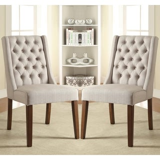 Salta Contemporary Button Tufted Wing Back Design Chairs (Set of 2)