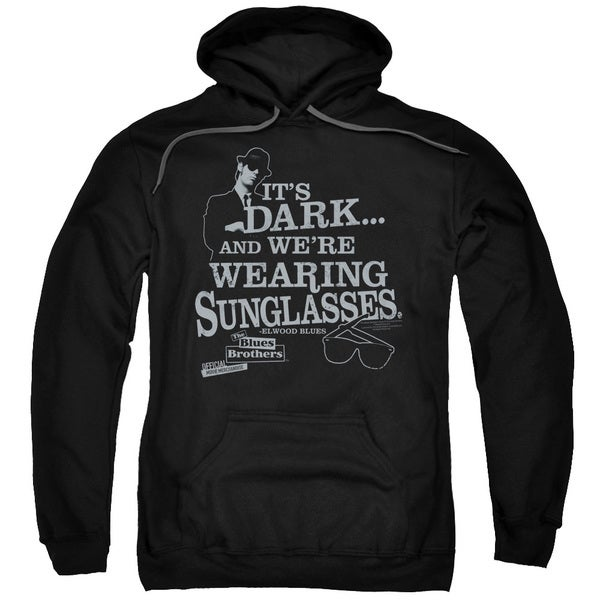 Blues Brothers/Its Dark Adult Pull-Over Hoodie in Black
