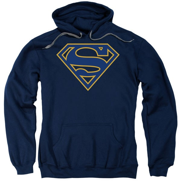 Superman/Navy &Amp; Orange Shield Adult Pull-Over Hoodie in Navy