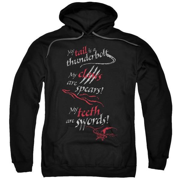 Hobbit/Tail Claws Teeth Adult Pull-Over Hoodie in Black