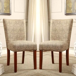 Parson Styled Grey Patterned Dining Chairs (Set of 2)