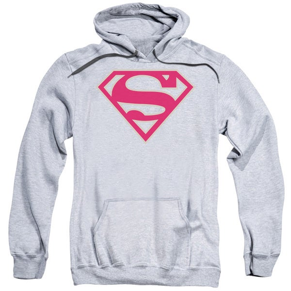 Superman/Crimson &Amp; Gray Shield Adult Pull-Over Hoodie in Athletic Heather