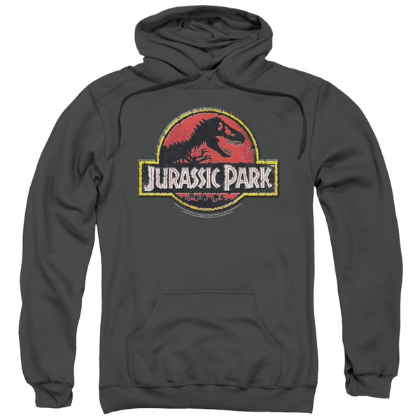 Jurassic Park/Stone Logo Adult Pull-Over Hoodie in Charcoal