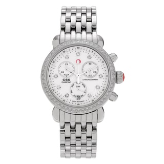 Michele Women's 'CSX 36' MWW03M000114 Stainless Steel 5/8ct TDW Diamond Chronograph Link Watch