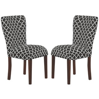 Rashay Parson Style Black/ White Quatrefoil Patterned Dining Chairs (Set of 2)