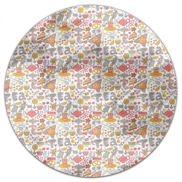 Funny Tea Party In Wonderland Round Tablecloth