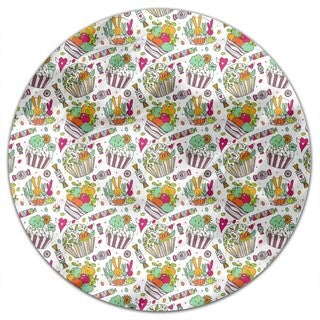 Colorful Cup Cake World Round Tablecloth