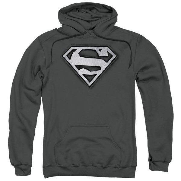 Superman/Duct Tape Shield Adult Pull-Over Hoodie in Charcoal