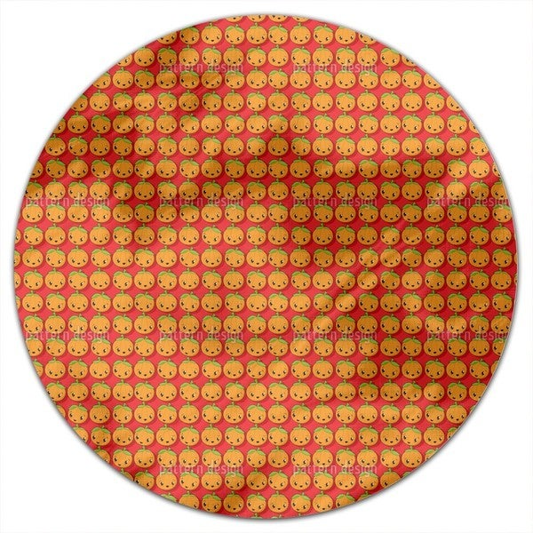 Kawaii Pumpkin Round Tablecloth