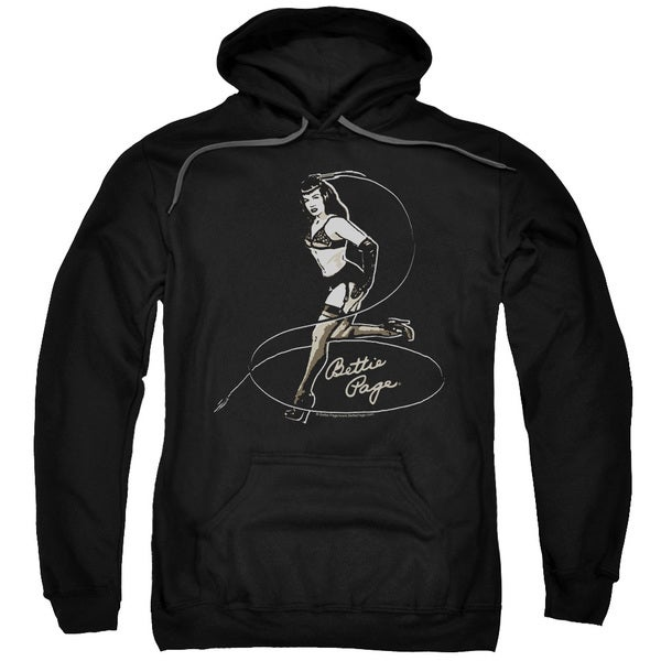 Bettie Page/Whip It! Adult Pull-Over Hoodie in Black