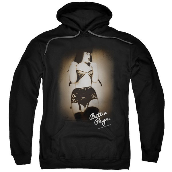 Bettie Page/Caught Adult Pull-Over Hoodie in Black