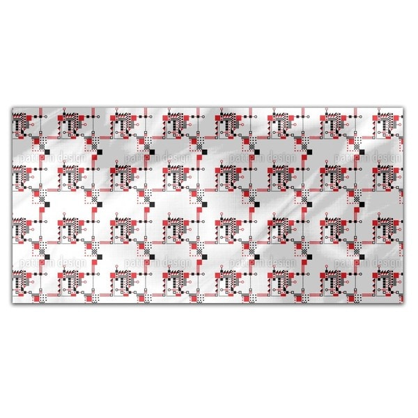 Red And Black Construction Rectangle Tablecloth