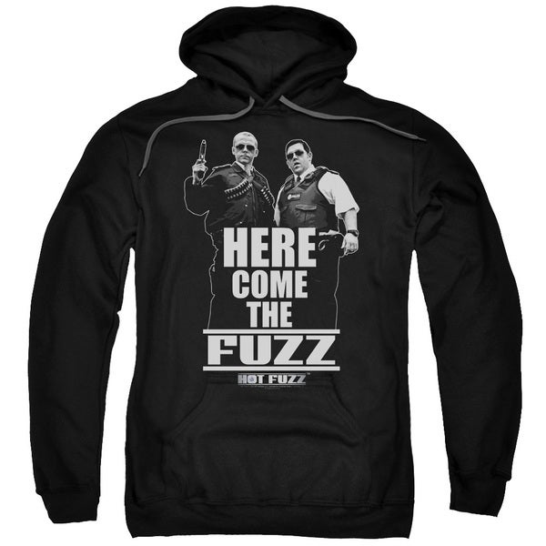 Hot Fuzz/Here Come The Fuzz Adult Pull-Over Hoodie in Black
