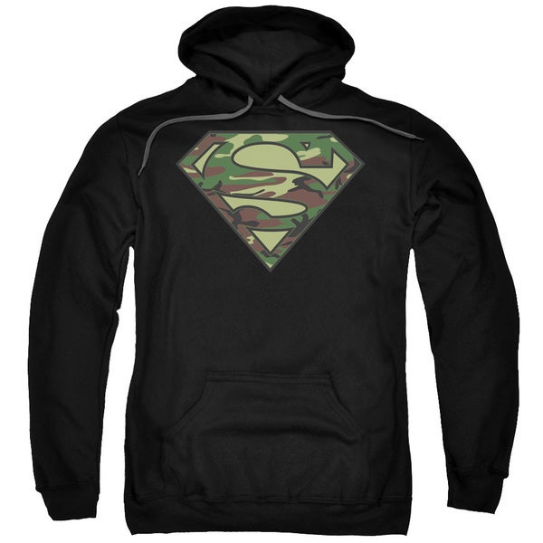 Superman/Camo Logo Adult Pull-Over Hoodie in Black