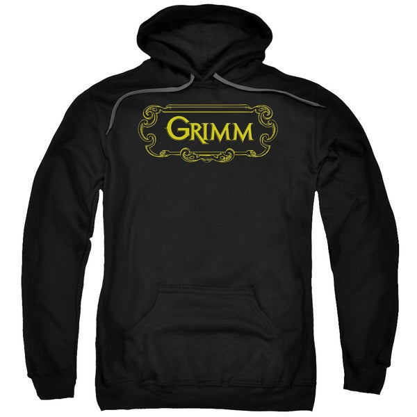 Grimm/Plaque Logo Adult Pull-Over Hoodie in Black