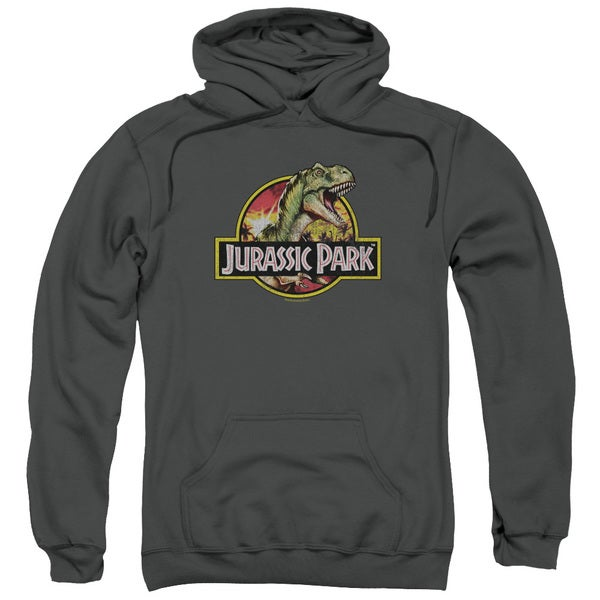 Jurassic Park/Retro Rex Adult Pull-Over Hoodie in Charcoal