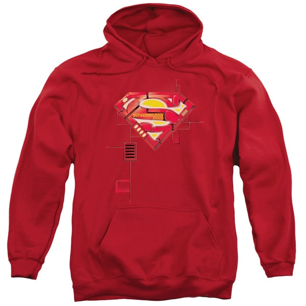 Superman/Super Mech Shield Adult Pull-Over Hoodie in Red