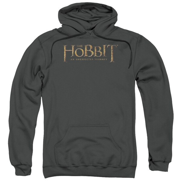The Hobbit/Distressed Logo Adult Pull-Over Hoodie in Charcoal