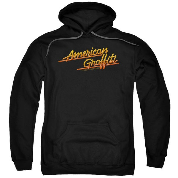 American Grafitti/Neon Logo Adult Pull-Over Hoodie in Black
