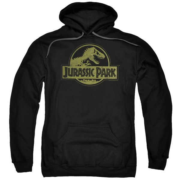 Jurassic Park/Distressed Logo Adult Pull-Over Hoodie in Black