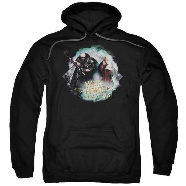 The Hobbit/We're Fighers Adult Pull-Over Hoodie in Black