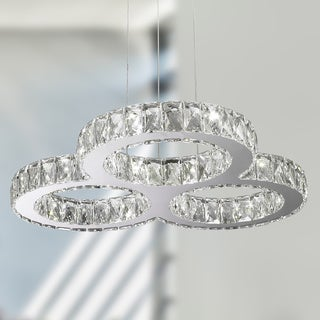 Galaxy 20 LED-light Chrome Finish and Clear Crystal Triple Ring Chandelier