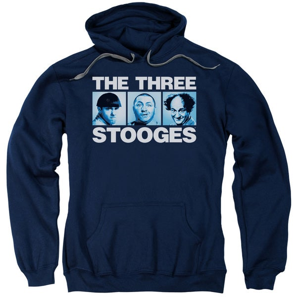 Three Stooges/Three Squares Adult Pull-Over Hoodie in Navy