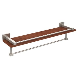 Montero Collection Brass/Wood 22-inch Wall Shelf With Rail and Towel Bar