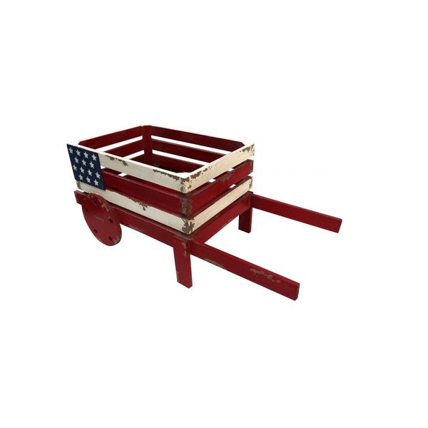 American Flag Red/White/Blue Wooden Wheelbarrow Planter
