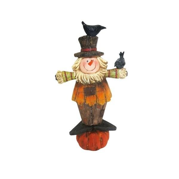 Alpine 11-inch Scarecrow Boy Statue