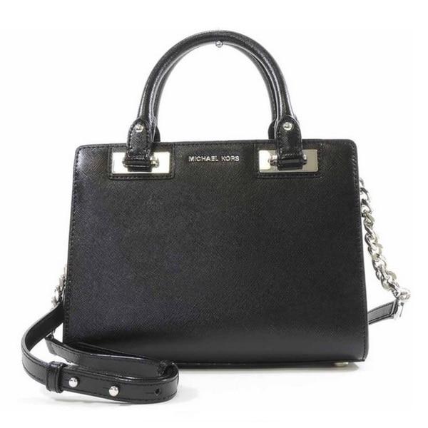 Michael Kors Quinn Small Black Patent Saffiano Satchel Handbag